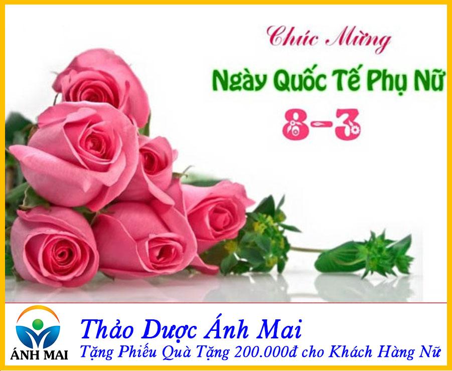 😍 Mừng 8/3 – Thảo dược Ánh Mai Tặng Phiếu Quà Tặng 200.000đ Cho Khách Hàng Nữ.